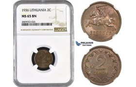 ZM591, Lithuania, 2 Centai 1936, NGC MS65BN