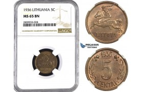 ZM593, Lithuania, 5 Centai 1936, NGC MS65BN