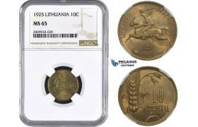 ZM594, Lithuania, 10 Centu 1925, NGC MS65