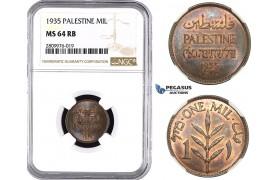 ZM598, Palestine, 1 Mil 1935, NGC MS64RB