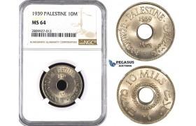 ZM600, Palestine, 10 Mils 1939, NGC MS64