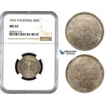 ZM604, Palestine, 50 Mils 1931, London, Silver, NGC MS63, Extremely Rare!