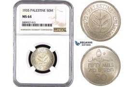 ZM606, Palestine, 50 Mils 1935, London, Silver, NGC MS64