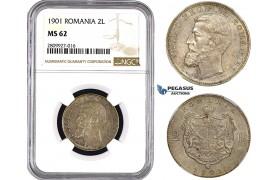 ZM608, Romania, Carol I, 2 Lei 1901, Hamburg, Silver, NGC MS62, Pop 2/0, Extremely Rare!