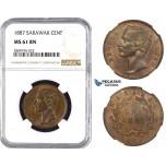 ZM615, Sarawak, C. Brooke Rajah, 1 Cent 1887, NGC MS61