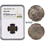 ZM617, Straits Settlements, Victoria, 1/4 Cent 1884, NGC MS62BN