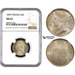 ZM618, Straits Settlements, Victoria, 20 Cent 1899, Silver, NGC MS62