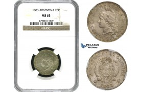 ZM622, Argentina, 20 Centavos 1883, Silver, NGC MS63