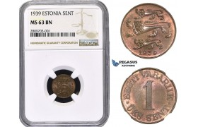 ZM623, Estonia, 1 Sent 1939, NGC MS63BN