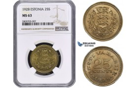 ZM625, Estonia, 25 Senti 1928, NGC MS63