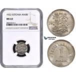 ZM626, Estonia, 1 Mark 1922, NGC MS63