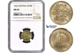 ZM627, Estonia, 1 Mark 1924, NGC MS64