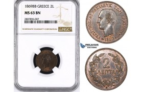 ZM63, Greece, George I, 2 Lepta 1869-BB, Strasbourg, NGC MS63BN