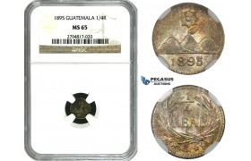 ZM637, Guatemala, 1/4 Real 1895, Silver, NGC MS65
