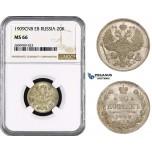 ZM641, Russia, Nicholas II, 20 Kopeks 1909 СПБ-ЭБ, St. Petersburg, Silver, NGC MS66