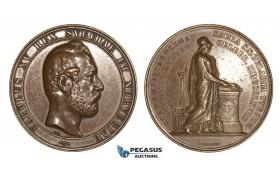 ZM660, Sweden, Karl XV, Bronze Medal 1868 (Ø58mm, 82g) by Ericsson, Lund University, Owl, Minerva