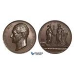 ZM664, Belgium & Netherlands, Leopold I, Bronze Medal 1839 (Ø50.4mm, 48,1g) by Jehotte, Train, Railroad, Peace