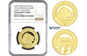ZM675, Switzerland, Shooting 1000 Francs 1992, Le Locle, Gold, Zurich - Dielsdorf, NGC PF68 Ultra Cameo, Mintage 175pcs