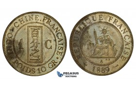ZM682, French Indo-China, 1 Centime 1889-A, Paris, UNC Specimen Strike, Stained!
