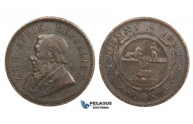 ZM688, South Africa (ZAR) Penny 1893, VF