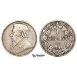 ZM689, South Africa (ZAR) 1 Shilling 1893, Silver, F-VF, Rare!
