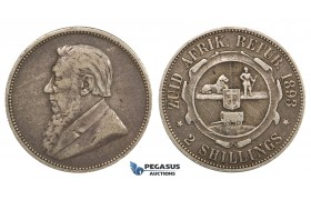 ZM690, South Africa (ZAR) 2 Shillings 1893, Silver, VF, Rare!