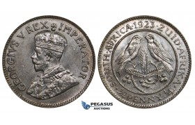 ZM691, South Africa, George V, 1/4 Penny 1923, Pretoria, Ch UNC
