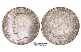 ZM692, Sweden, Gustaf V, 2 Kronor 1937 G, Stockholm, Silver, Ch Toned UNC