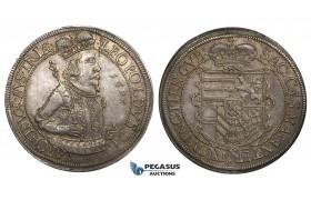 ZM713, Austria, Archduke Leopold, Taler 1627, Ensisheim, Silver (28.45g) Lovely cabinet toning, AU, Rare!
