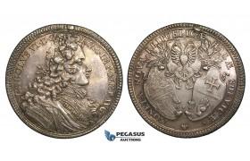 ZM718, Germany, Schwäbisch Hall, Karl VI, Taler 1712 GFK, Nuremberg, Silver (28.99g) Ex. Mount, Toned AU