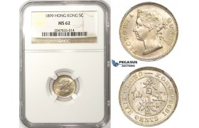 ZM74, Hong Kong, Victoria, 5 Cents 1899, Silver, NGC MS62