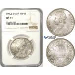 ZM75, India (British) Victoria, 1 Rupee 1900-B, Bombay, Silver, NGC MS62