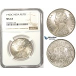 ZM76, India (British) Victoria, 1 Rupee 1900-C, Calcutta, Silver, NGC MS63