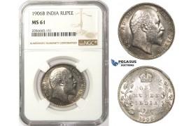 ZM77, India (British) Edward VII, 1 Rupee 1906-B, Bombay, Silver, NGC MS61