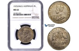 ZM793, Australia, George V, Florin - 2 Shillings 1925 (M&S) Silver, NGC MS62