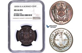 ZM794, British North Borneo, 1 Cent 1890-H, Heaton, NGC MS66BN (Looks SP)