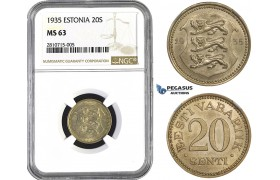 ZM802, Estonia, 20 Senti 1935, NGC MS63