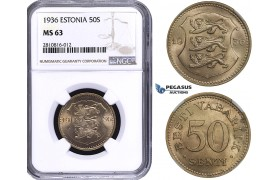 ZM805, Estonia, 50 Senti 1936, NGC MS63