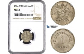 ZM807, Estonia, 1 Mark 1924, NGC MS64
