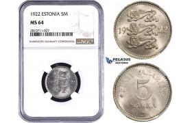 ZM810, Estonia, 5 Marka 1922, NGC MS64