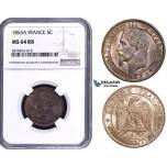 ZM812, France, Napoleon III, 5 Centimes 1863-A, Paris, NGC MS64RB