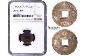 ZM814, French Indo-China, 2 Sapeque 1879-A, Paris, NGC MS63RB