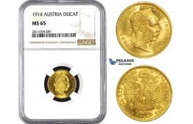 ZM826, Austria, Franz Joseph, Ducat 1914, Vienna, Gold, NGC MS65