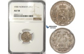 ZM83, Norway, Oscar II, 25 Øre 1900, Kongsberg, Silver, NGC AU58