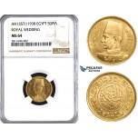 ZM830, Egypt, Farouk, 50 Piastres AH1357/1938 (Royal Wedding) Gold, NGC MS64