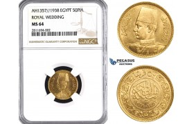 ZM830, Egypt, Farouk, 50 Piastres AH1357/1938 (Royal Wedding) Gold, NGC MS64
