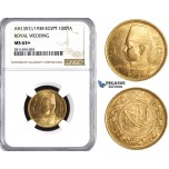 ZM831, Egypt, Farouk, 100 Piastres AH1357/1938 (Royal Wedding) Gold, NGC MS63+