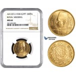 ZM833, Egypt, Farouk, 100 Piastres AH1357/1938 (Royal Wedding) Gold, NGC MS64