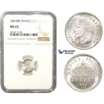 ZM838, France, Napoleon III, 20 Centimes 1867-BB, Strasbourg, Silver, NGC MS65