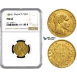 ZM839, France, Napoleon III, 20 Francs 1855-D, Lyon, Gold, NGC AU55